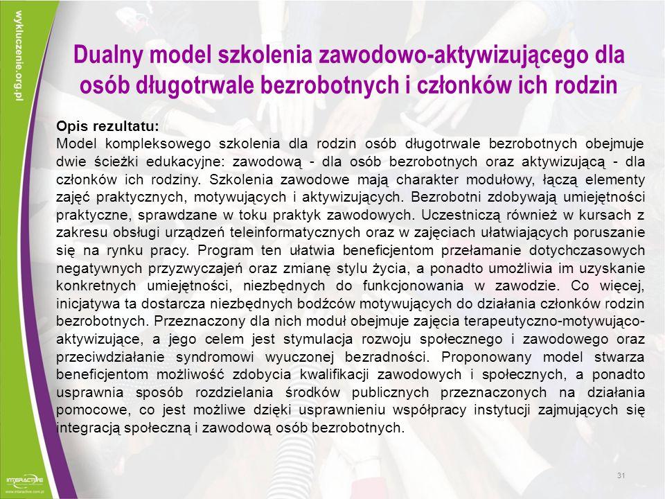Dualny model szkolenia zawodowo-aktywizującego dla osób długotrwale bezrobotnych i członków ich rodzin Opis rezultatu: Model kompleksowego szkolenia d
