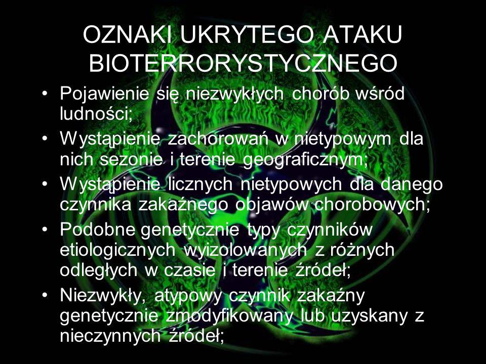 Rozpoznanie ataku utrudnia: nieswoiste symptomy chorobowe inną niż naturalna droga zakażenia danym czynnikiem czynnik wywołujący obecnie rzadko występującą lub wyeliminowaną chorobę, czynnik wywołujący rzadko występującą na danym terenie chorobę użycie genetycznie modyfikowanego szczepu