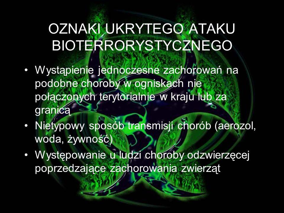 OZNAKI UKRYTEGO ATAKU BIOTERRORYSTYCZNEGO Pojawienie się niezwykłych chorób wśród ludności; Wystąpienie zachorowań w nietypowym dla nich sezonie i terenie geograficznym; Wystąpienie licznych nietypowych dla danego czynnika zakaźnego objawów chorobowych; Podobne genetycznie typy czynników etiologicznych wyizolowanych z różnych odległych w czasie i terenie źródeł; Niezwykły, atypowy czynnik zakaźny genetycznie zmodyfikowany lub uzyskany z nieczynnych źródeł;