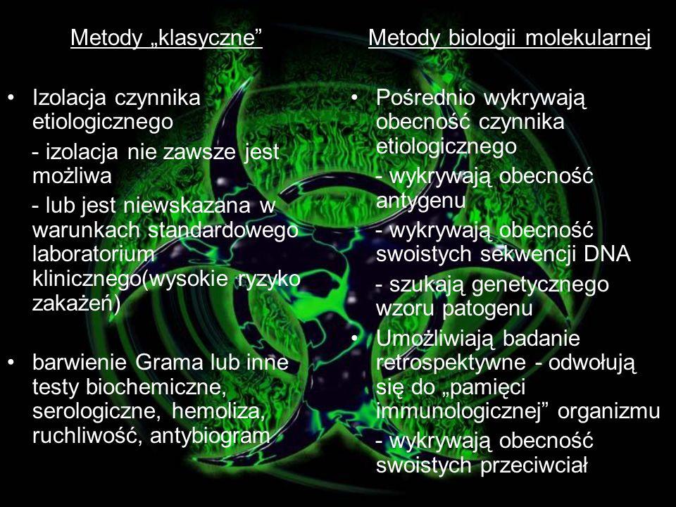 Diagnostyka Laboratorium diagnostyczne Metody klasyczne Metody biologii molekularnej Lekarz: objawy choroby, pobiera materiał kliniczny
