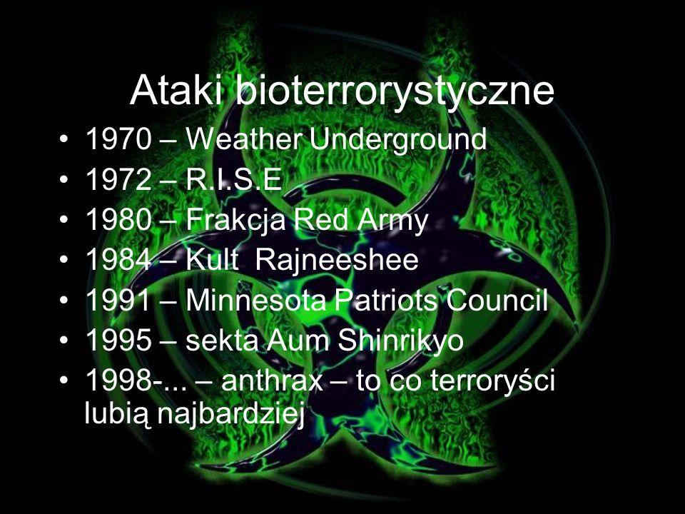 CHEMIOTERAPEUTYKI Antybiotyki w leczeniu: wąglika - doksycyklina, ciproflaksacyna tularemii - streptomycyna, gentamycyna, dżumy - streptomycyna, gentamycyna, w profilaktyce: wąglika - doksycyklina, ciproflaksacyna tularemii - doksycyklina, ciproflaksacyna dżumy - doksycyklina Leki przeciwwirusowe w leczeniu: VHF: Lassa, Machupo, Junin, Guanarito, Sabia, Hanta, Doliny Rift, Krym- Kongo - rybawiryna ospy - Cidofovir w profilaktyce: Nie stosuje się!!!
