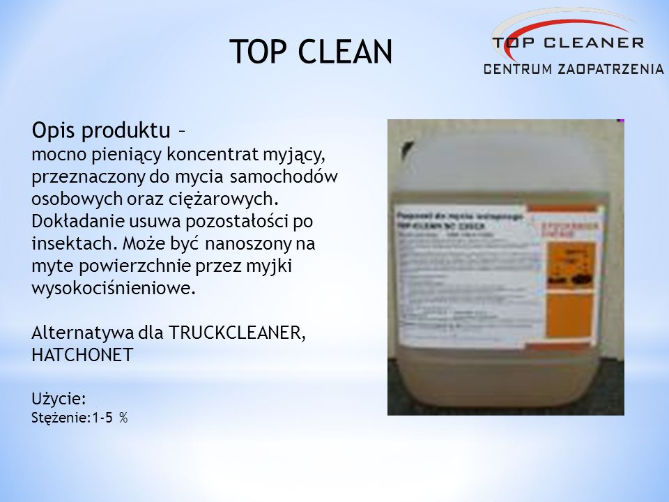 Opis produktu – mocno pieniący koncentrat myjący, przeznaczony do mycia samochodów osobowych oraz ciężarowych. Dokładanie usuwa pozostałości po insekt