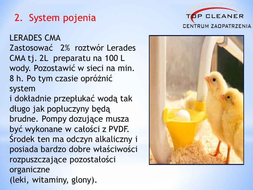 LERADES CMA Zastosować 2% roztwór Lerades CMA tj. 2L preparatu na 100 L wody. Pozostawić w sieci na min. 8 h. Po tym czasie opróżnić system i dokładni