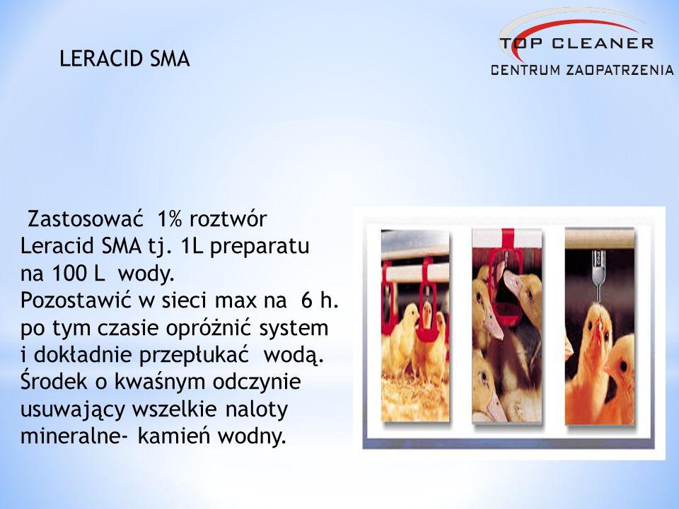 Zastosować 1% roztwór Leracid SMA tj. 1L preparatu na 100 L wody. Pozostawić w sieci max na 6 h. po tym czasie opróżnić system i dokładnie przepłukać