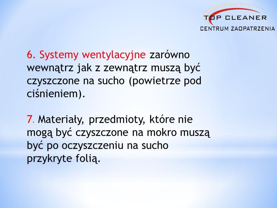 6. Systemy wentylacyjne zarówno wewnątrz jak z zewnątrz muszą być czyszczone na sucho (powietrze pod ciśnieniem). 7. Materiały, przedmioty, które nie