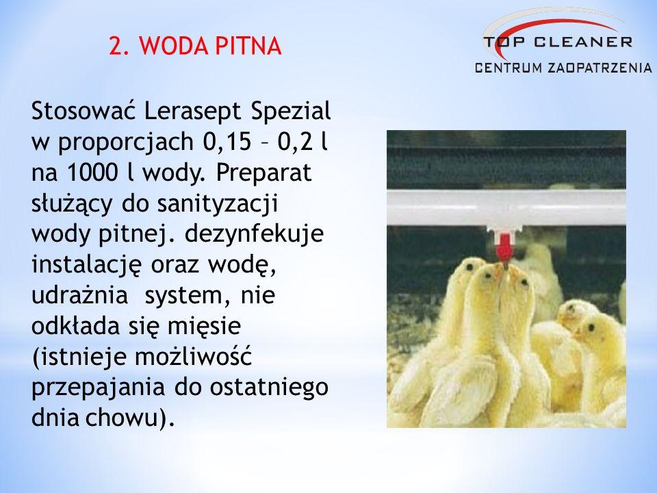 Stosować Lerasept Spezial w proporcjach 0,15 – 0,2 l na 1000 l wody. Preparat służący do sanityzacji wody pitnej. dezynfekuje instalację oraz wodę, ud