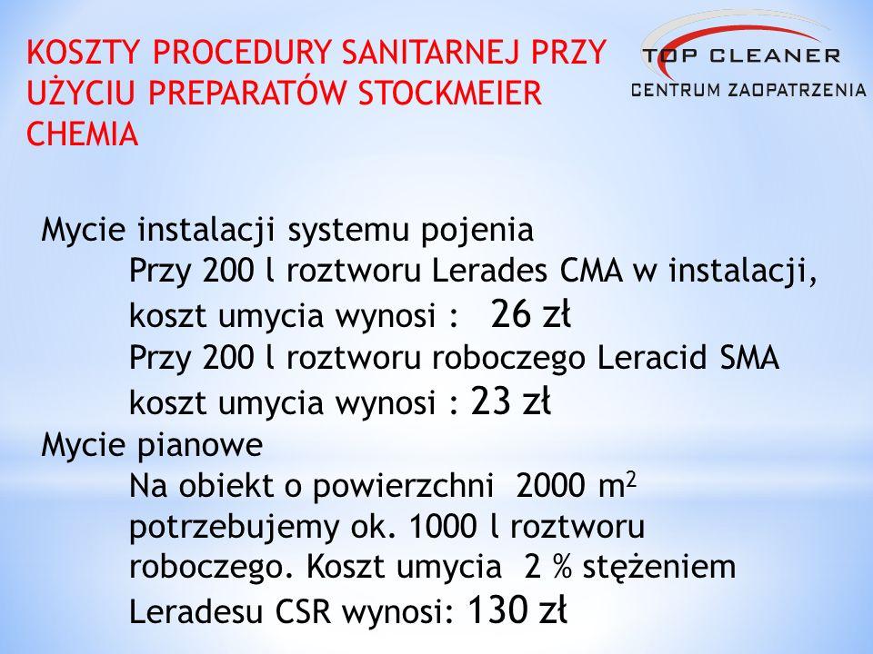 KOSZTY PROCEDURY SANITARNEJ PRZY UŻYCIU PREPARATÓW STOCKMEIER CHEMIA Mycie instalacji systemu pojenia Przy 200 l roztworu Lerades CMA w instalacji, ko