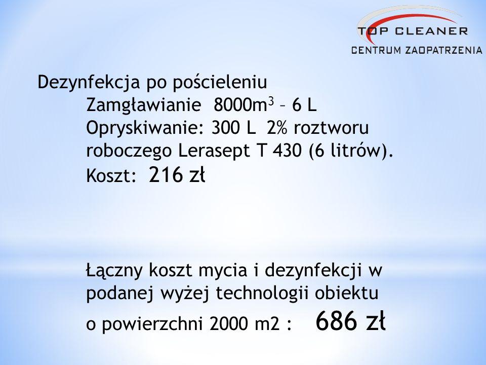 Dezynfekcja po pościeleniu Zamgławianie 8000m 3 – 6 L Opryskiwanie: 300 L 2% roztworu roboczego Lerasept T 430 (6 litrów). Koszt: 216 zł Łączny koszt