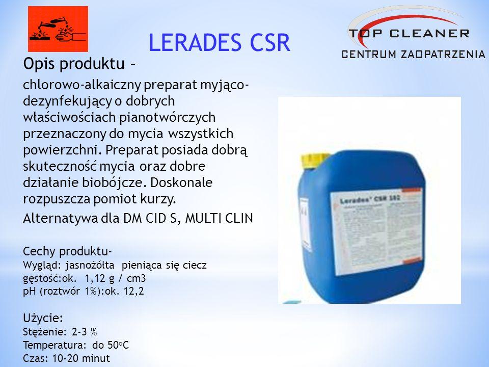 Opis produktu – jest to stabilizowany środek dezynfekujący na bazie nadtlenku wodoru, kwasu octowego i 5% kwasu nadoctowego.