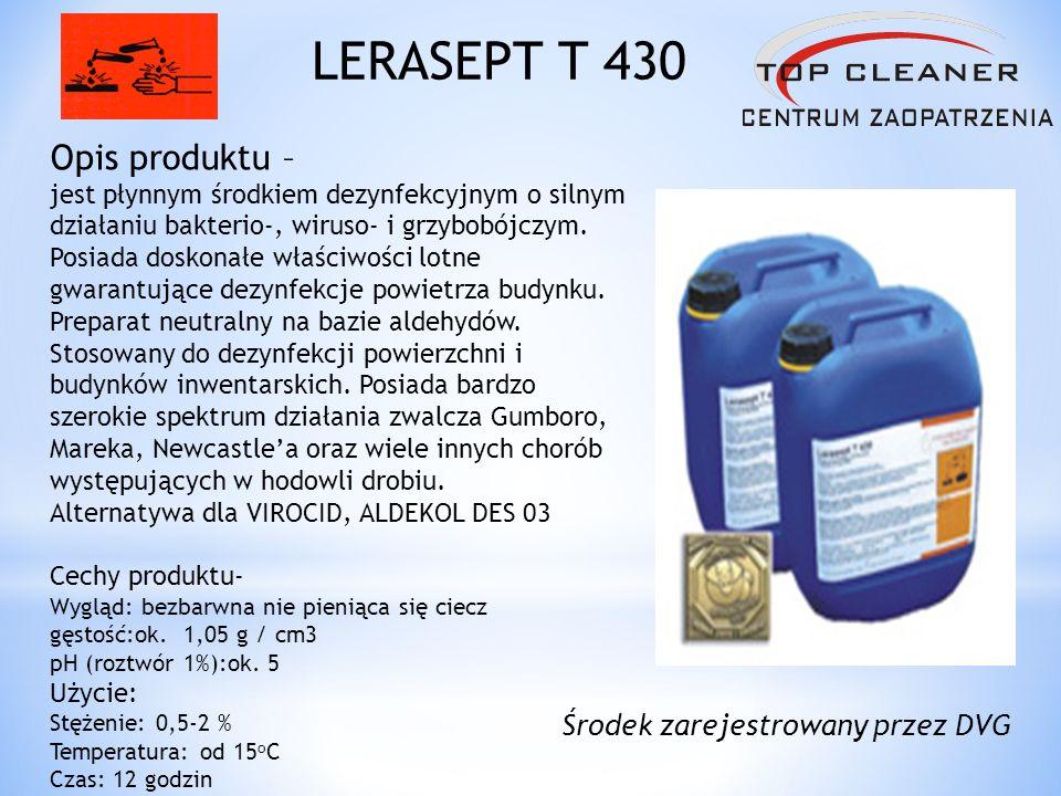 Opis produktu – jest płynnym środkiem dezynfekcyjnym o silnym działaniu bakterio-, wiruso- i grzybobójczym. Posiada doskonałe właściwości lotne gwaran