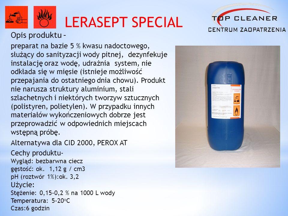 Opis produktu – preparat na bazie 5 % kwasu nadoctowego, służący do sanityzacji wody pitnej, dezynfekuje instalację oraz wodę, udrażnia system, nie od