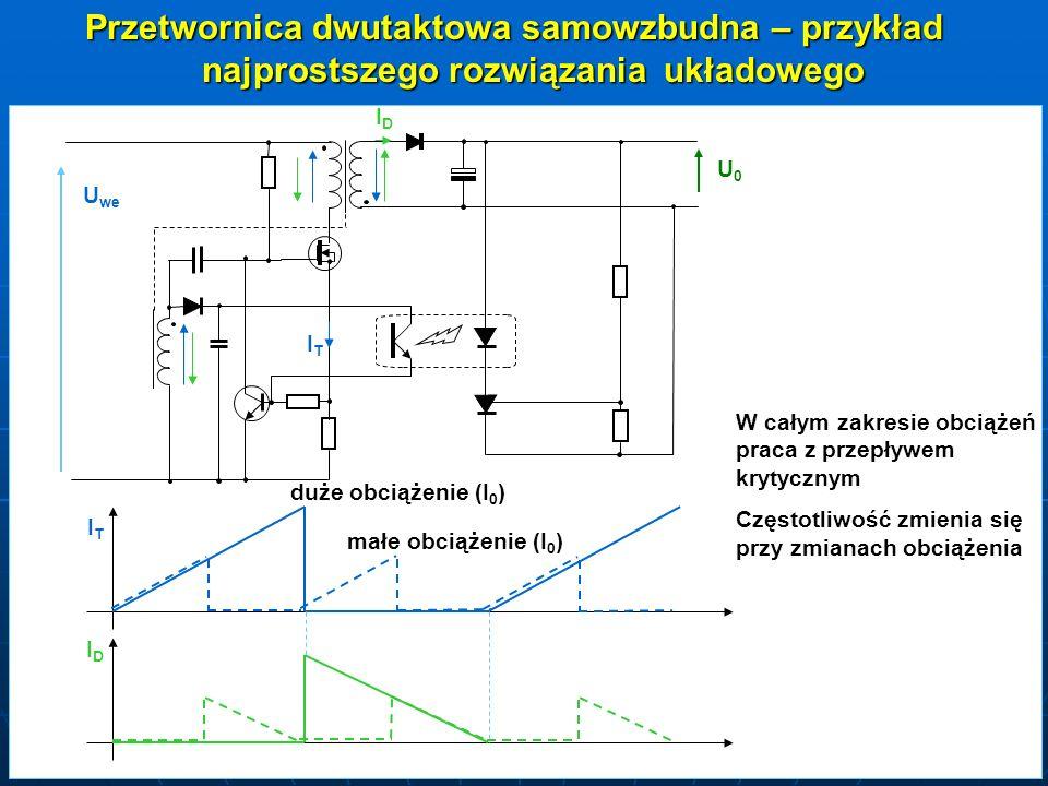 Przetwornica dwutaktowa samowzbudna – przykład najprostszego rozwiązania układowego ITIT ITIT IDID IDID U we U0U0 duże obciążenie (I 0 ) małe obciążen