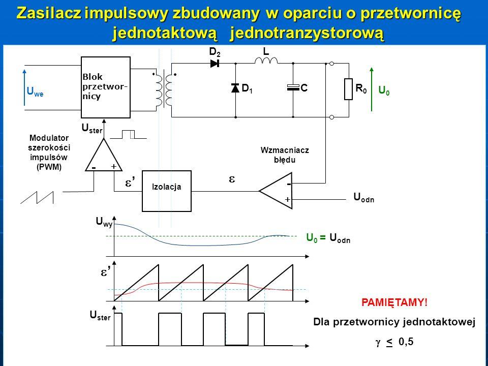 Zasilacz impulsowy zbudowany w oparciu o przetwornicę jednotaktową jednotranzystorową DD1DD1 DD2DD2L C RR0RR0 U0U0 Blok przetwor- nicy U we - + U U od