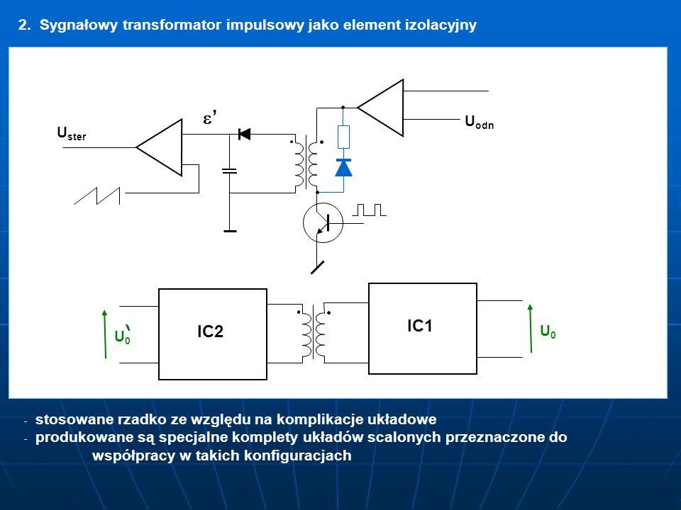 2. Sygnałowy transformator impulsowy jako element izolacyjny U U odn U U ster IC2 IC1 U0U0 U0U0 - - stosowane rzadko ze względu na komplikacje układow