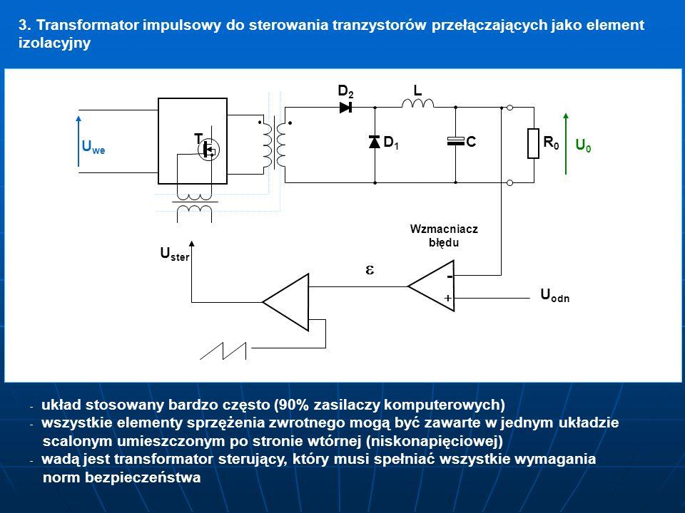3. Transformator impulsowy do sterowania tranzystorów przełączających jako element izolacyjny DD1DD1 DD2DD2L C RR0RR0 U0U0 U we - + U U odn Wzmacniacz