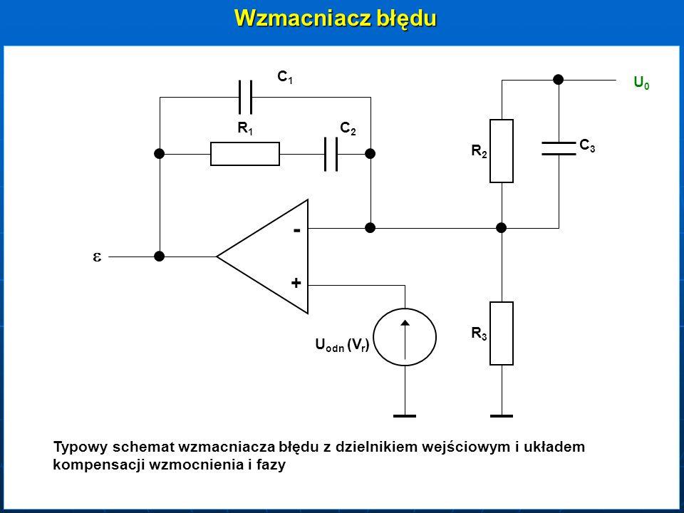 Wzmacniacz błędu C1C1 C2C2 C3C3 R1R1 R2R2 R3R3 - + U odn (V r ) U0U0 Typowy schemat wzmacniacza błędu z dzielnikiem wejściowym i układem kompensacji w