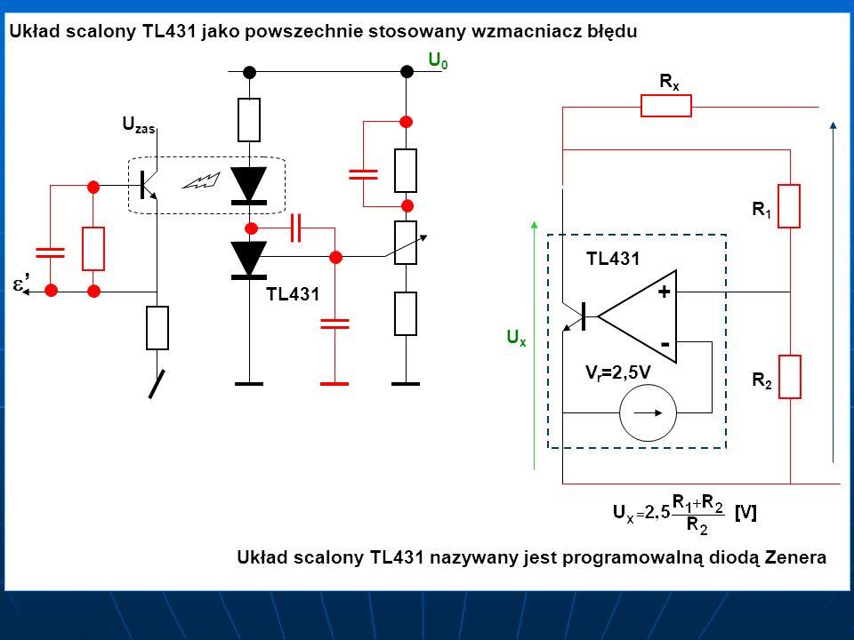 Układ scalony TL431 jako powszechnie stosowany wzmacniacz błędu TL431 U U zas U0U0 V r =2,5V + - TL431 R1R1 R2R2 UxUx RxRx Układ scalony TL431 nazywan