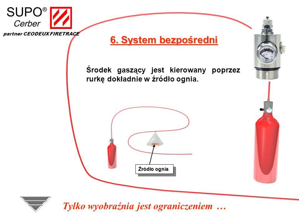 6. System bezpośredni Środek gaszący jest kierowany poprzez rurkę dokładnie w źródło ognia. Źródło ognia Tylko wyobraźnia jest ograniczeniem … partner