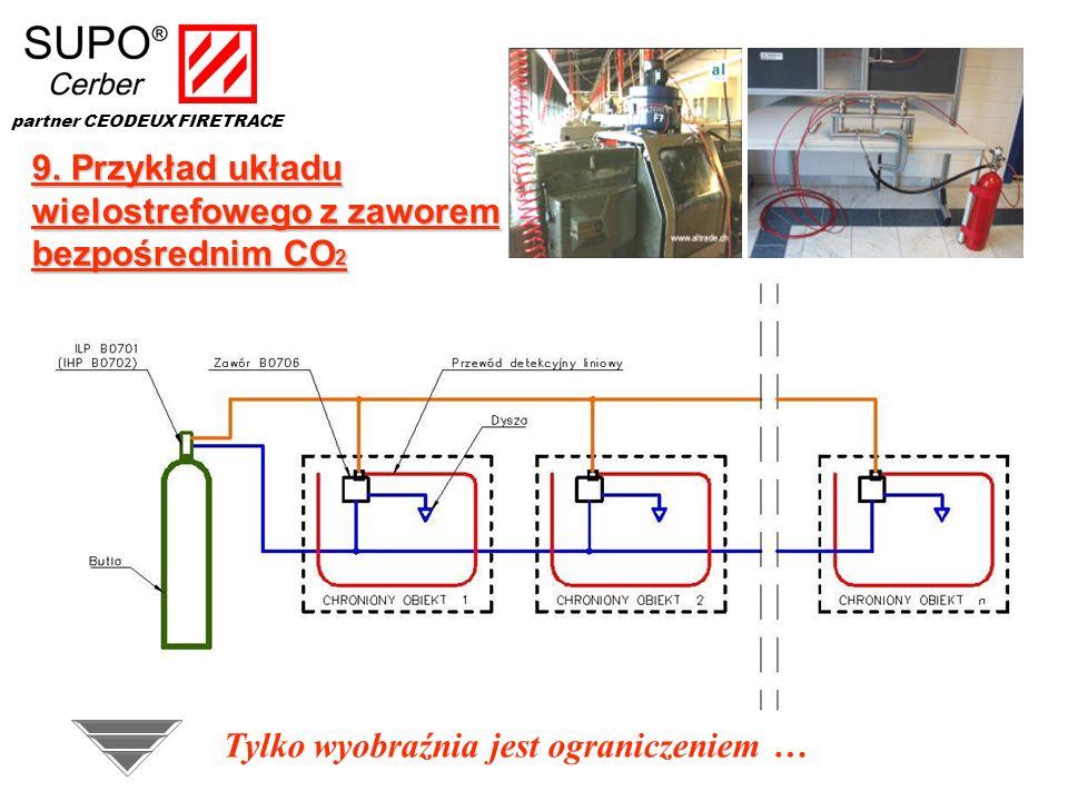 9. Przykład układu wielostrefowego z zaworem bezpośrednim CO 2 Tylko wyobraźnia jest ograniczeniem … partner CEODEUX FIRETRACE