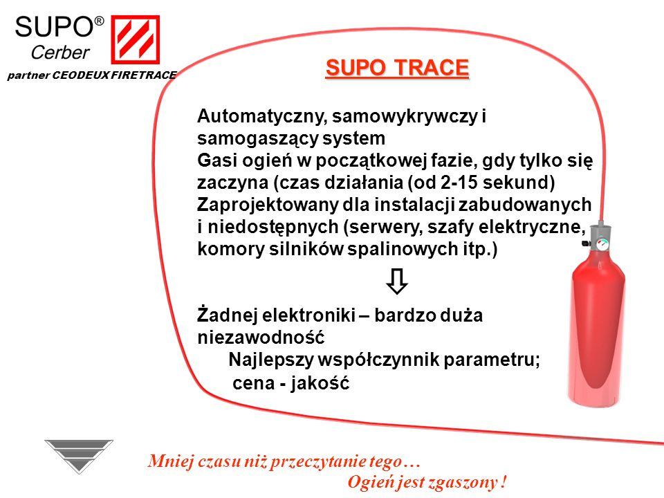 SUPO TRACE Automatyczny, samowykrywczy i samogaszący system Gasi ogień w początkowej fazie, gdy tylko się zaczyna (czas działania (od 2-15 sekund) Zap