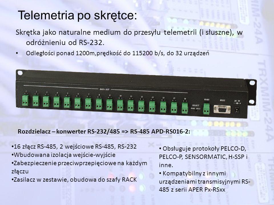 Telemetria po skrętce: Skrętka jako naturalne medium do przesyłu telemetrii (i słuszne), w odróżnieniu od RS-232. Odległości ponad 1200m,prędkość do 1
