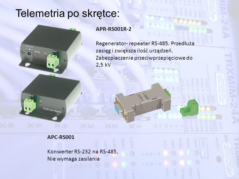 Telemetria po skrętce: APR-RS001R-2 Regenerator- repeater RS-485. Przedłuża zasięg i zwiększa ilość urządzeń. Zabezpieczenie przeciwprzepięciowe do 2,