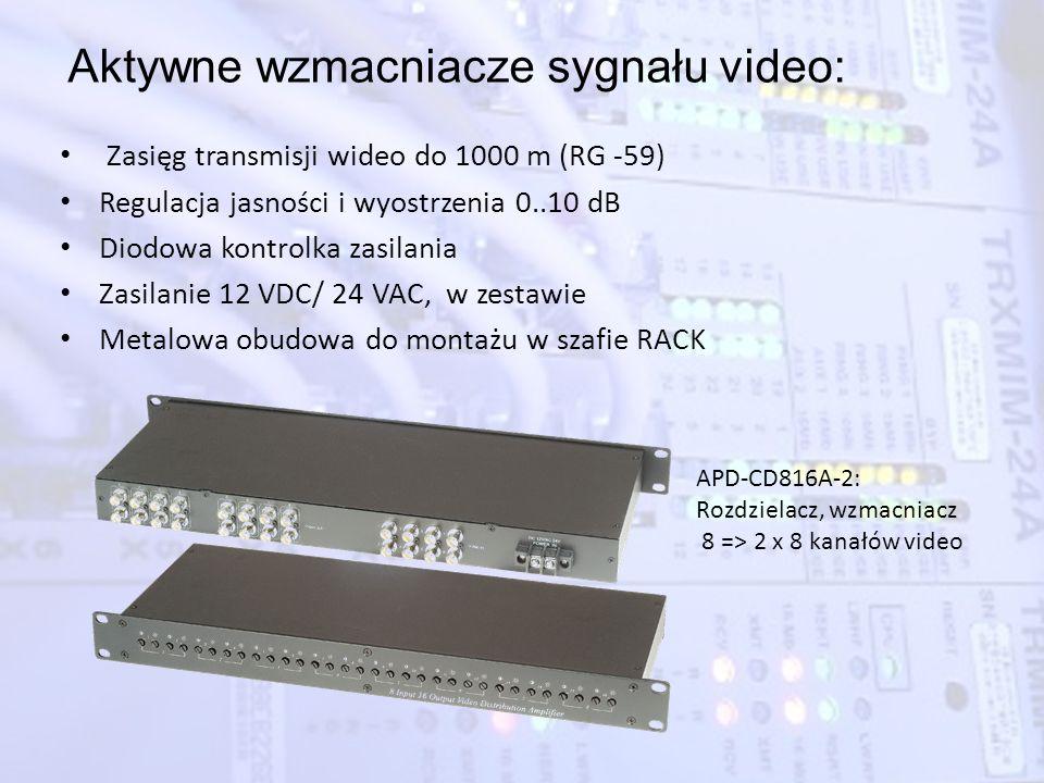 Aktywne wzmacniacze sygnału video: Zasięg transmisji wideo do 1000 m (RG -59) Regulacja jasności i wyostrzenia 0..10 dB Diodowa kontrolka zasilania Za