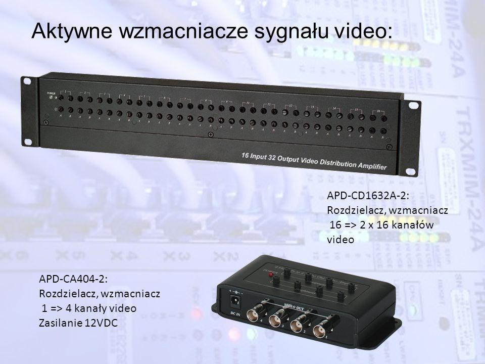 Aktywne wzmacniacze sygnału video: APD-CD1632A-2: Rozdzielacz, wzmacniacz 16 => 2 x 16 kanałów video APD-CA404-2: Rozdzielacz, wzmacniacz 1 => 4 kanał