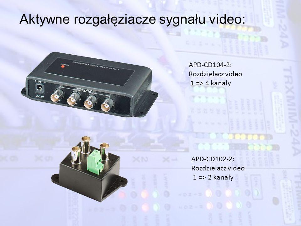 Aktywne rozgałęziacze sygnału video: APD-CD104-2: Rozdzielacz video 1 => 4 kanały APD-CD102-2: Rozdzielacz video 1 => 2 kanały