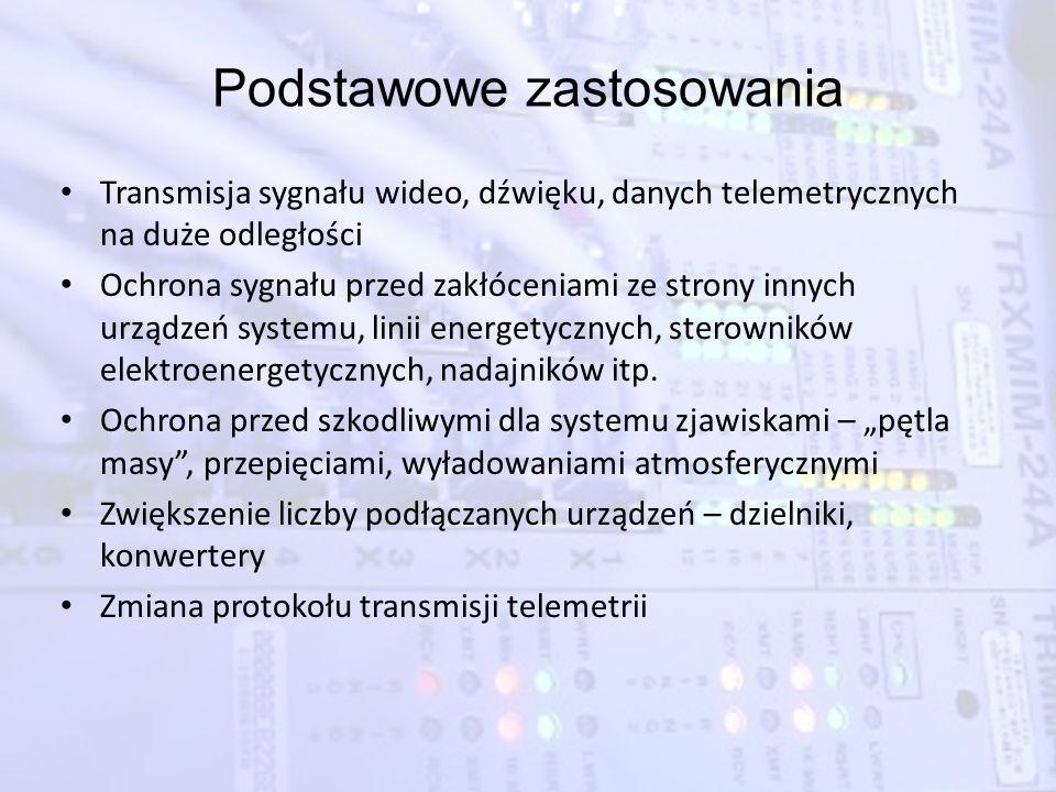 Podstawowe zastosowania Transmisja sygnału wideo, dźwięku, danych telemetrycznych na duże odległości Ochrona sygnału przed zakłóceniami ze strony inny