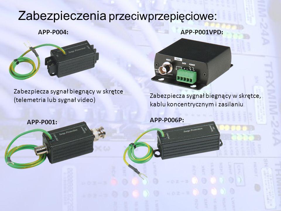 Zabezpieczenia przeciwprzepięciowe: APP-P004: Zabezpiecza sygnał biegnący w skrętce (telemetria lub sygnał video) APP-P001: APP-P001VPD: Zabezpiecza s