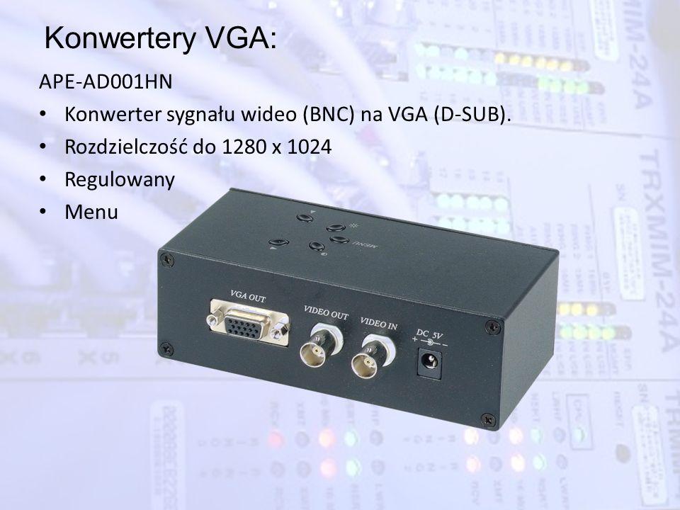 Konwertery VGA: APE-AD001HN Konwerter sygnału wideo (BNC) na VGA (D-SUB). Rozdzielczość do 1280 x 1024 Regulowany Menu