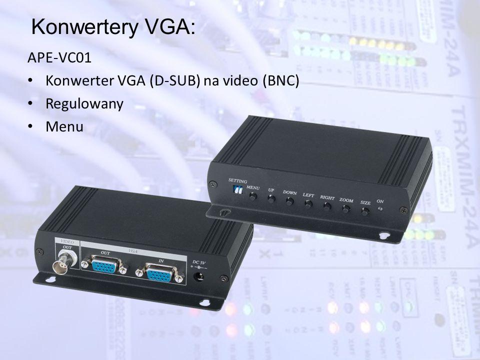 Konwertery VGA: APE-VC01 Konwerter VGA (D-SUB) na video (BNC) Regulowany Menu