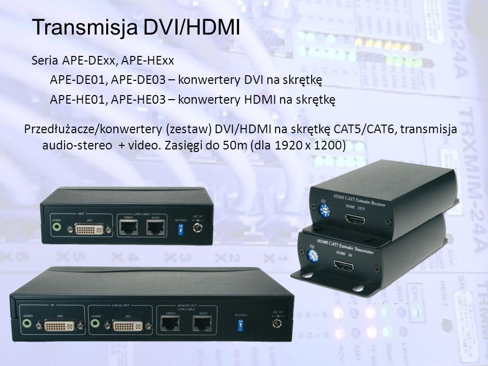 Transmisja DVI/HDMI Seria APE-DExx, APE-HExx APE-DE01, APE-DE03 – konwertery DVI na skrętkę APE-HE01, APE-HE03 – konwertery HDMI na skrętkę Przedłużac