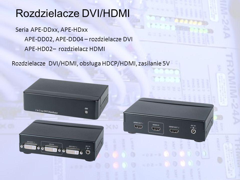 Rozdzielacze DVI/HDMI Seria APE-DDxx, APE-HDxx APE-DD02, APE-DD04 – rozdzielacze DVI APE-HD02– rozdzielacz HDMI Rozdzielacze DVI/HDMI, obsługa HDCP/HD