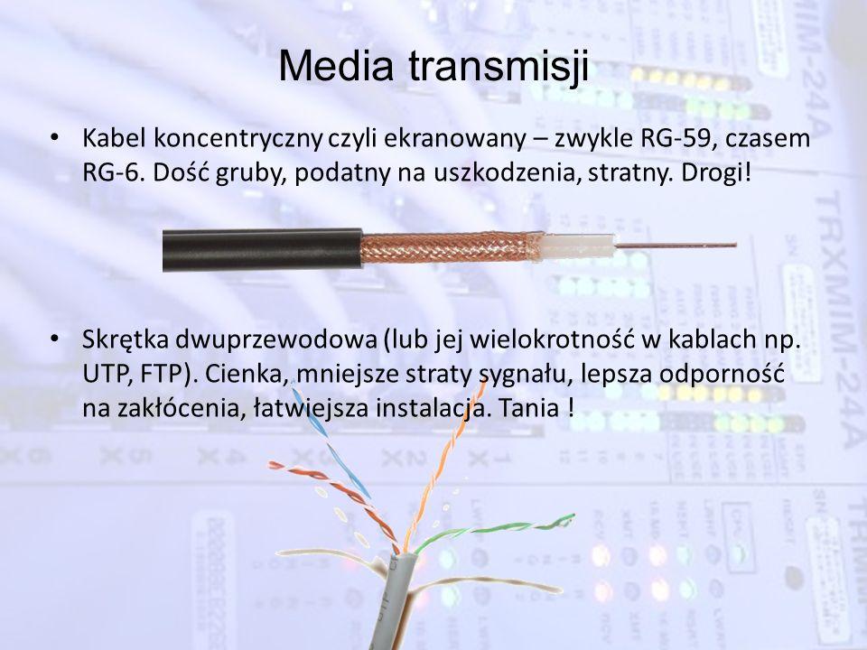 Media transmisji Kabel koncentryczny czyli ekranowany – zwykle RG-59, czasem RG-6. Dość gruby, podatny na uszkodzenia, stratny. Drogi! Skrętka dwuprze