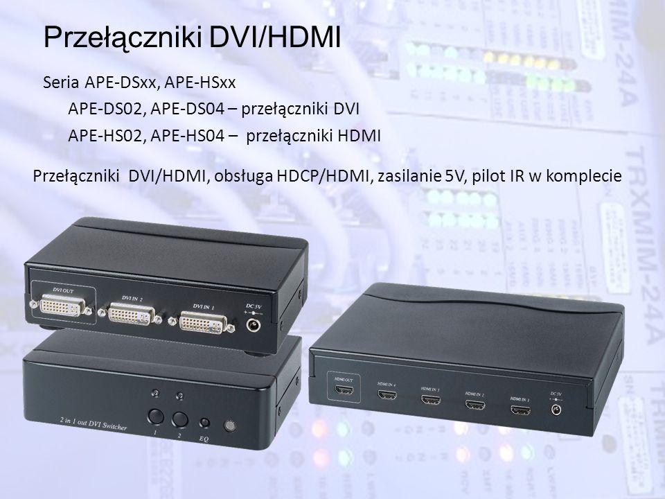 Przełączniki DVI/HDMI Seria APE-DSxx, APE-HSxx APE-DS02, APE-DS04 – przełączniki DVI APE-HS02, APE-HS04 – przełączniki HDMI Przełączniki DVI/HDMI, obs