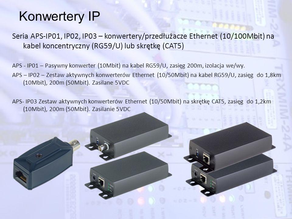Konwertery IP Seria APS-IP01, IP02, IP03 – konwertery/przedłużacze Ethernet (10/100Mbit) na kabel koncentryczny (RG59/U) lub skrętkę (CAT5) APS - IP01