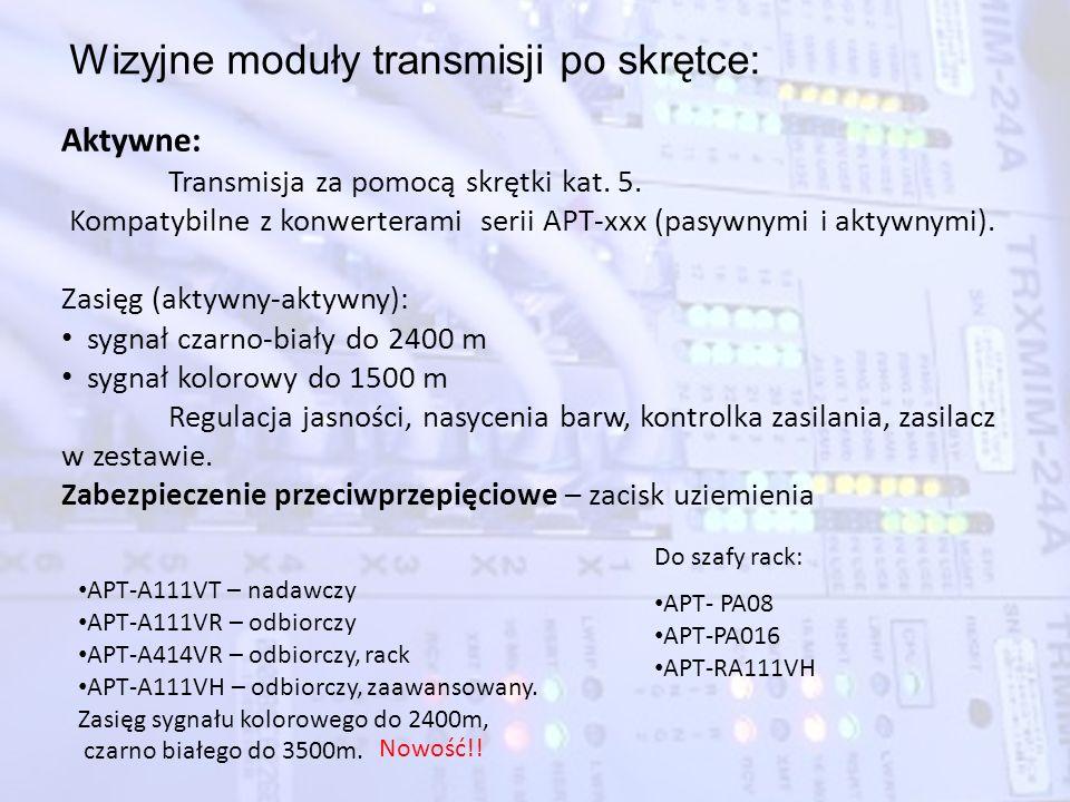 Wizyjne moduły transmisji po skrętce: APT-A111VT – nadawczy APT-A111VR – odbiorczy APT-A414VR – odbiorczy, rack APT-A111VH – odbiorczy, zaawansowany.