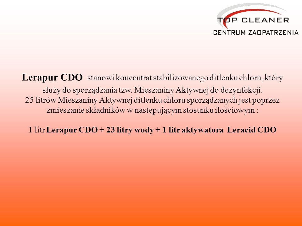 Lerapur CDO stanowi koncentrat stabilizowanego ditlenku chloru, który służy do sporządzania tzw. Mieszaniny Aktywnej do dezynfekcji. 25 litrów Mieszan