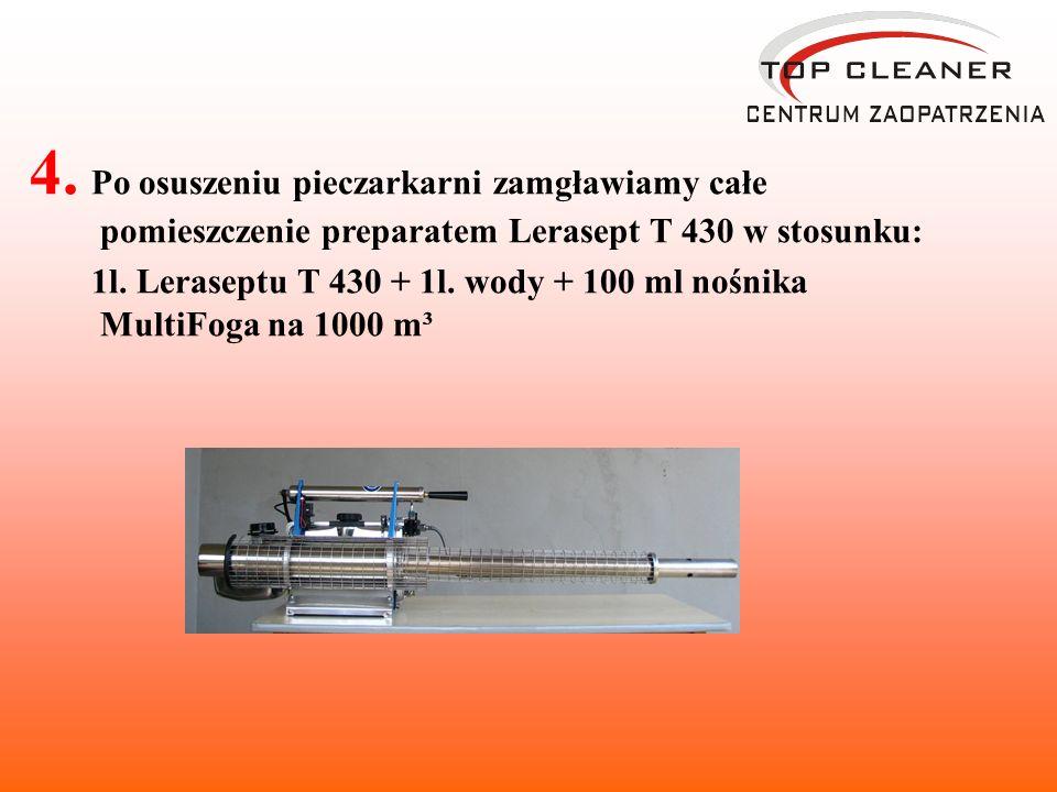 4. Po osuszeniu pieczarkarni zamgławiamy całe pomieszczenie preparatem Lerasept T 430 w stosunku: 1l. Leraseptu T 430 + 1l. wody + 100 ml nośnika Mult