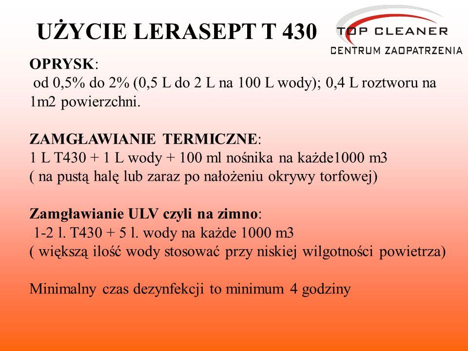 OPRYSK: od 0,5% do 2% (0,5 L do 2 L na 100 L wody); 0,4 L roztworu na 1m2 powierzchni.