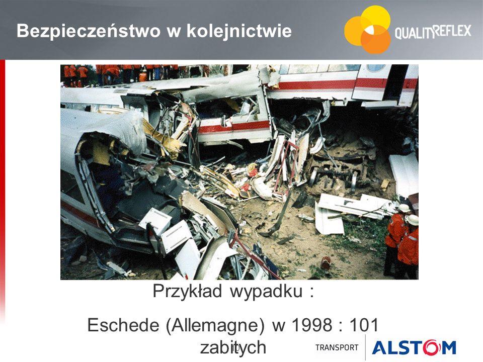 10 Bezpieczeństwo w kolejnictwie Przykład wypadku : Eschede (Allemagne) w 1998 : 101 zabitych