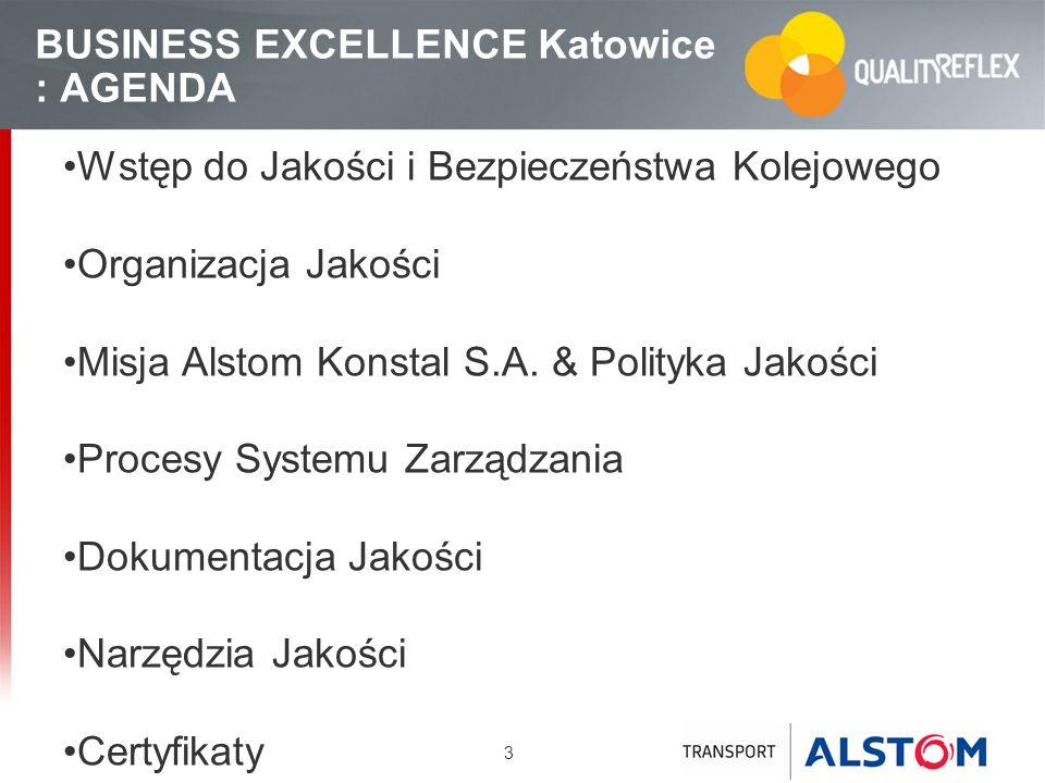 3 BUSINESS EXCELLENCE Katowice : AGENDA Wstęp do Jakości i Bezpieczeństwa Kolejowego Organizacja Jakości Misja Alstom Konstal S.A. & Polityka Jakości
