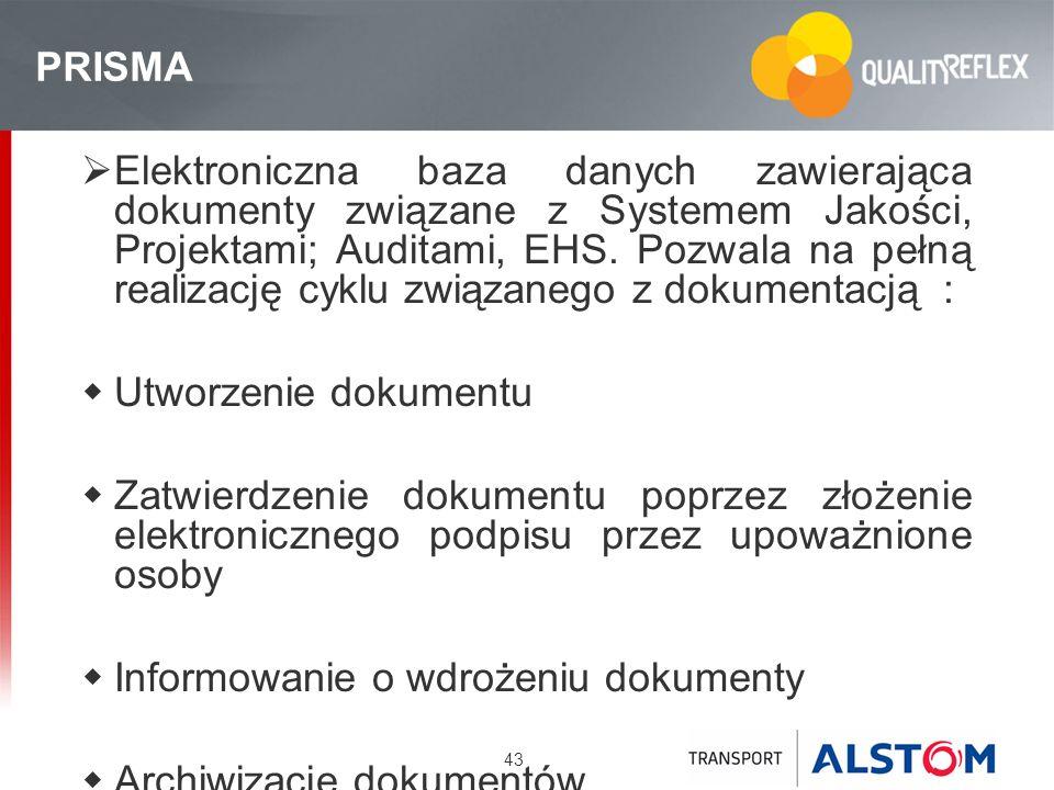 43 PRISMA Elektroniczna baza danych zawierająca dokumenty związane z Systemem Jakości, Projektami; Auditami, EHS. Pozwala na pełną realizację cyklu zw