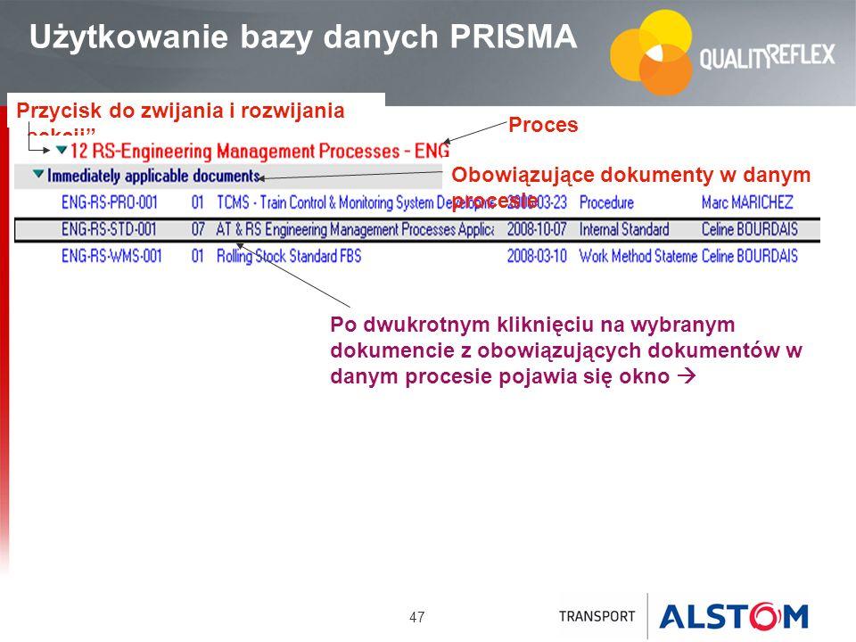 47 Przycisk do zwijania i rozwijania sekcji Użytkowanie bazy danych PRISMA Proces Obowiązujące dokumenty w danym procesie Po dwukrotnym kliknięciu na