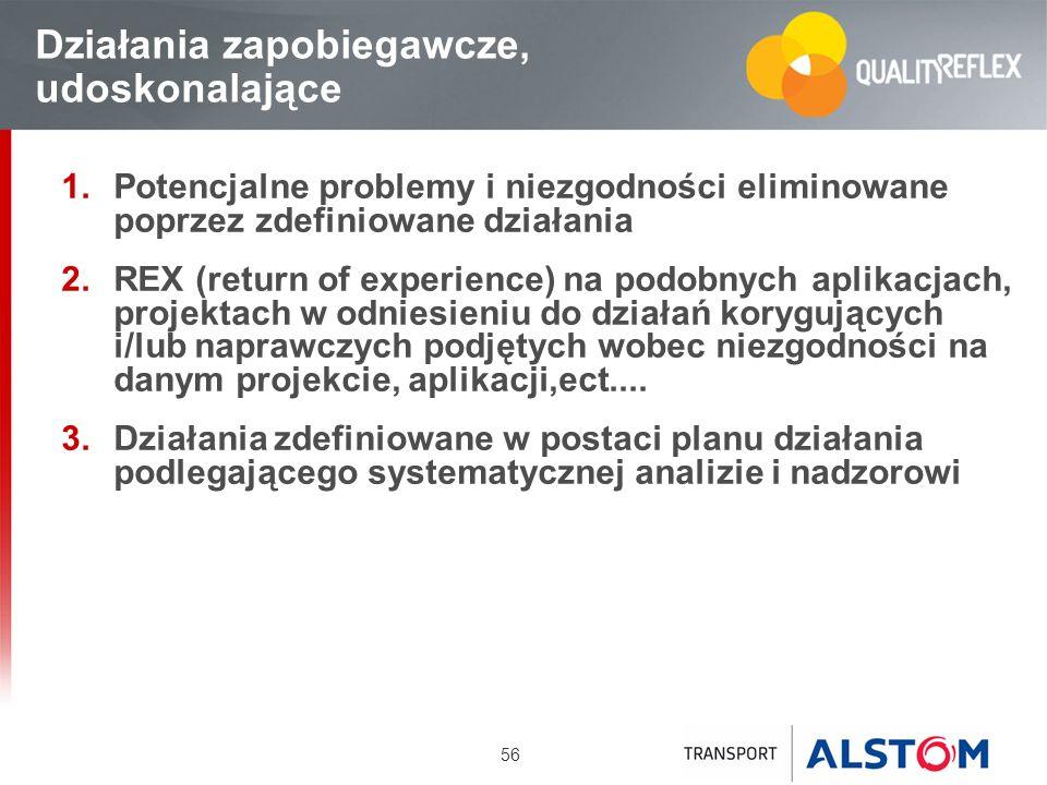 56 Działania zapobiegawcze, udoskonalające Potencjalne problemy i niezgodności eliminowane poprzez zdefiniowane działania REX (return of experience) n