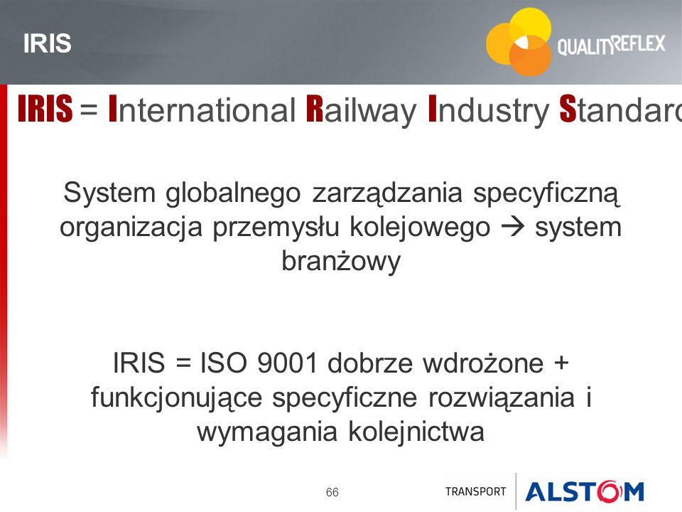 66 IRIS IRIS = I nternational R ailway I ndustry S tandard System globalnego zarządzania specyficzną organizacja przemysłu kolejowego system branżowy