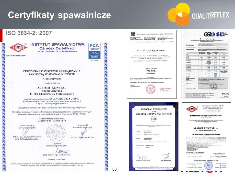 68 Certyfikaty spawalnicze ISO 3834-2: 2007