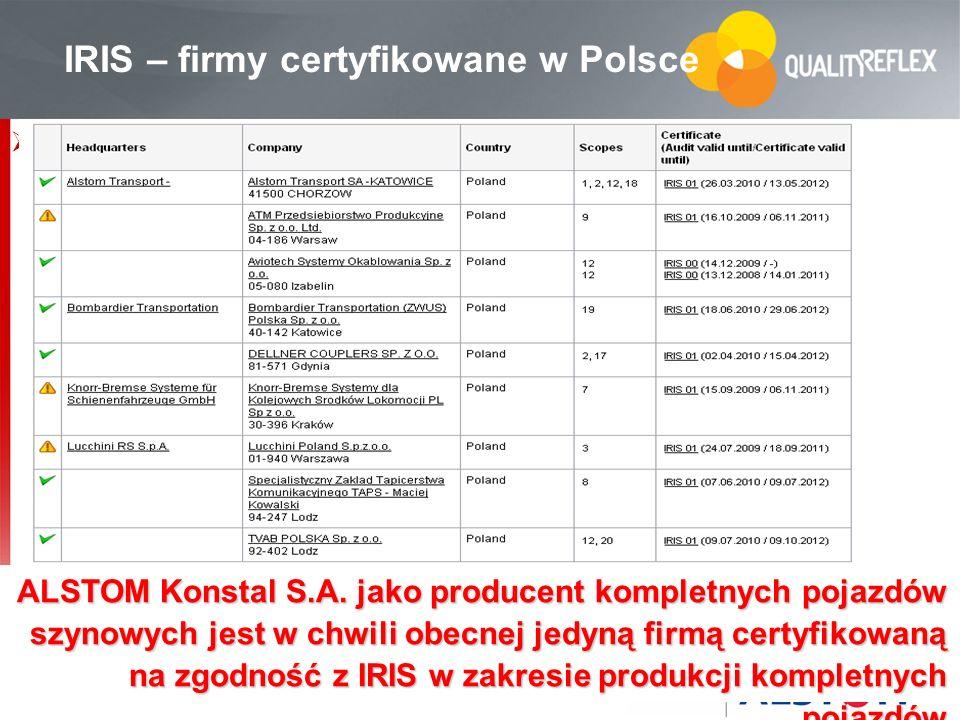 69 … IRIS – firmy certyfikowane w Polsce ALSTOM Konstal S.A. jako producent kompletnych pojazdów szynowych jest w chwili obecnej jedyną firmą certyfik